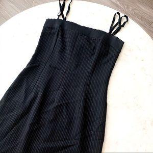 Dolce & Gabbana Black Midi Pinstriped Dress